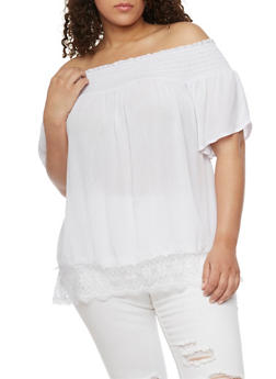 Plus Size Smocked Off the Shoulder Peasant Top with Lace Trim - WHITE - 8406056125267