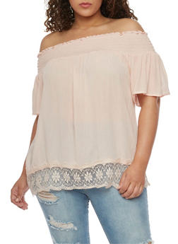 Plus Size Smocked Off the Shoulder Peasant Top with Lace Trim - 8406056125267