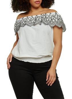 Plus Size Embroidered Off the Shoulder Top with Smocked Hem - 8406056125277