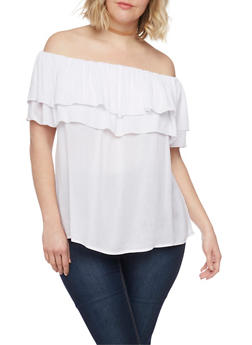 Plus Size Double Ruffle Off the Shoulder Top - WHITE - 8406056125280