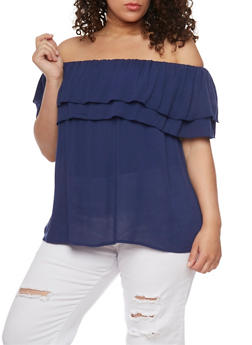 Plus Size Double Ruffle Off the Shoulder Top - 8406056125280
