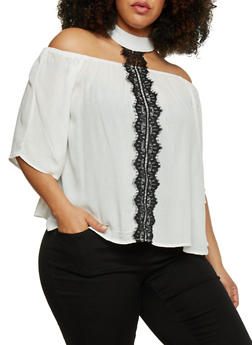 Plus Size Off the Shoulder Top with Lace Trimmed Choker Tie - 8406056125281