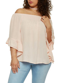 Plus Size Off the Shoulder Smocked Top with 3/4 Ruffle Sleeves - 8406056125286