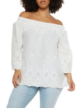 Plus Size Off the Shoulder Peasant Top - 8406056126423
