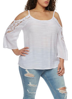 Plus Size Gauzy Cold Shoulder Top with Crochet Trimmed Sleeves - WHITE - 8406056127039