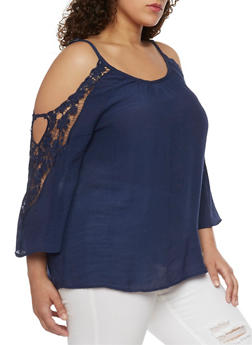 Plus Size Gauzy Cold Shoulder Top with Crochet Trimmed Sleeves - 8406056127039