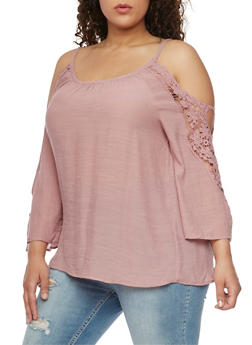 Plus Size Gauzy Cold Shoulder Top with Crochet Trimmed Sleeves - BLUSH - 8406056127039