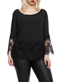 Plus Size Scoop Neck Peasant Top with Crochet Trim,BLACK,medium