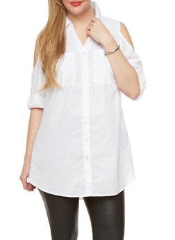 Plus Size Poplin Tunic Top With Cold Shoulder Cutouts,WHITE,medium