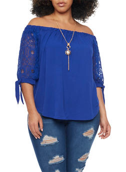 Plus Size Off the Shoulder Top with Lace Sleeves and Necklace - 8406058757241