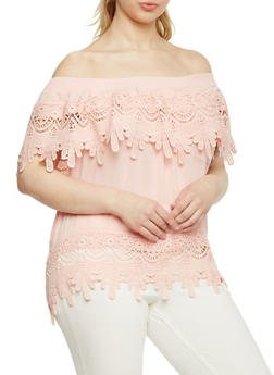 Plus Size Off the Shoulder Crochet Overlay Top - 8406062705358
