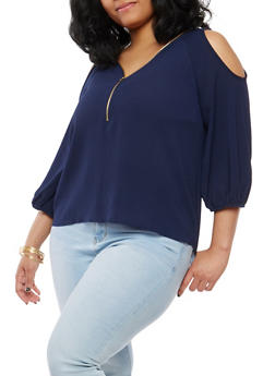 Plus Size Crepe Knit Cold Shoulder Top - 8406062705387