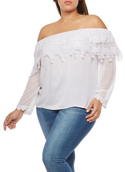 Plus Size Crochet Overlay Off the Shoulder Top - WHITE - 8406062705424
