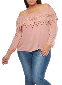 Plus Size Crochet Overlay Off the Shoulder Top - BLUSH - 8406062705424