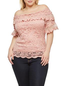 Plus Size Off the Shoulder Crochet Top - 8406062706575