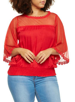 Plus Size Top with Bell Sleeves and Sheer Yoke - 8406063508105