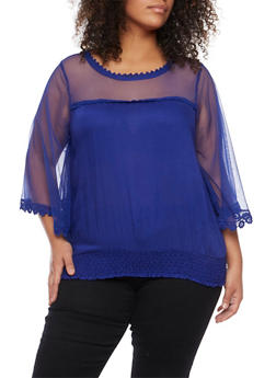 Plus Size Bell Sleeve Sheer Top - 8406063508105