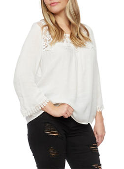 Plus Size Crochet Trim Top - 8406063508107