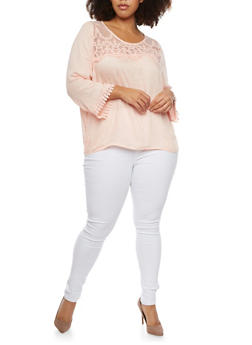 Plus Size Crochet Trim Top - BLUSH - 8406063508107