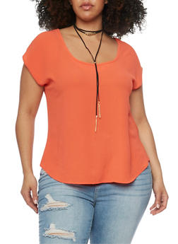 Plus Size Chiffon Top with Choker - 8406072246072