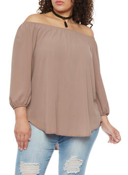 Plus Size Solid Off the Shoulder Peasant Blouse with Choker - 8406072246132