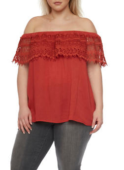 Plus Size Off The Shoulder Top with Crochet Overlay - 8406073559008