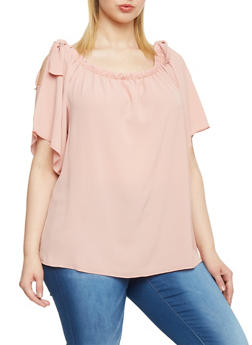 Plus Size Off the Shoulder Top with Tie Sleeves - 8406073709847