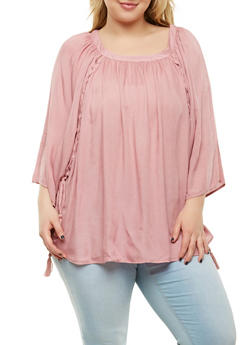 Plus Size Lace Up Dolman Sleeve Top - 8406074010029