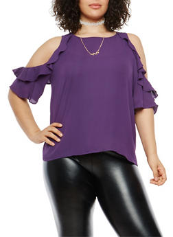 Plus Size Ruffle Cold Shoulder Top with Necklace - 8406074280991