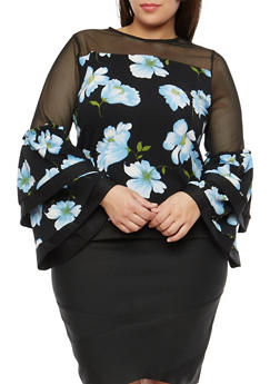 Plus Size Mesh Floral Tier Sleeve Top - 8406074282194