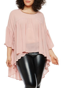 Plus Size High Low Top with Jeweled Neck Detail - 8406074282994