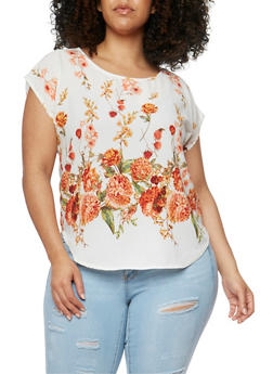 Plus Size Short Sleeve Floral Border Print Blouse - 8407020621444