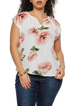 Plus Size Floral Metallic Neckline Detail Blouse - 8407020622244