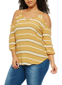 Plus Size Striped Cold Shoulder Top - 8407020622547