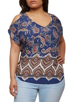 Plus Size Paisley Print Cold Shoulder Top - 8407020623652
