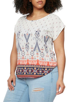 Plus Size Short Sleeve Border Print Blouse - 8407020624448
