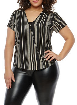 Plus Size Striped Pattern Top - 8407020625301