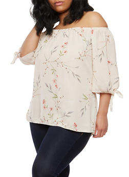 Plus Size Floral Off the Shoulder Tie Sleeve Top - 8407020626056