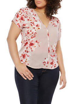Plus Size Floral Print Top - 8407020626301