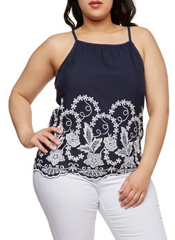 Plus Size Sleeveless Embroidered Top - 8407020626331