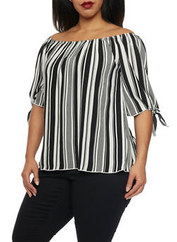 Plus Size Off the Shoulder Striped Top with Tie Sleeves - 8407020626605