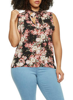 Plus Size Sleeveless Floral Crepe Choker Top - 8407020626775