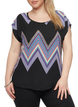 Plus Size Printed Short Sleeve Top - 8407020626840