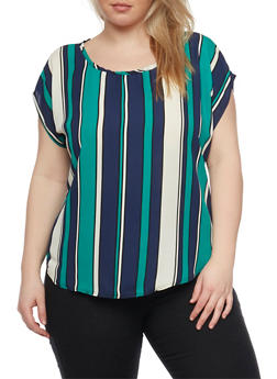 Plus Size Striped Short Sleeve Top - 8407020626845