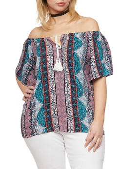 Plus Size Off the Shoulder Printed Flutter Top - 8407051060851