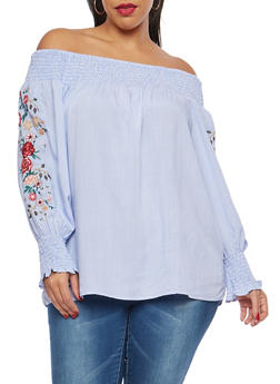 Plus Size Floral Embroidered Off the Shoulder Top - 8407051068277