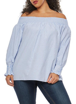 Plus Size Off the Shoulder Peasant Top - 8407051069277