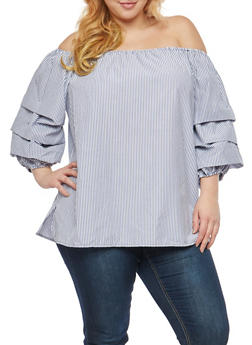 Plus Size Off the Shoulder Tiered Sleeve Top - 8407051069706