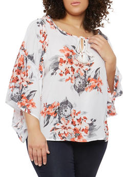 Plus Size Floral Tie Neck Top - 8407056122570
