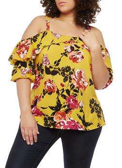 Plus Size Floral Print Cold Shoulder Top - 8407056122582
